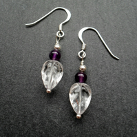 Amethyst and Carved Quartz Leaf Earrings Sterling Silver February Birthstone
