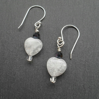 Crackled Quartz and Czech Glass Crystal Earrings