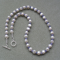 Pearl Necklace With Tanzanite Sterling Silver Necklace