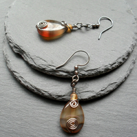 Botswana Agate Wire Wrapped Drop Earrings Gunmetal Tone