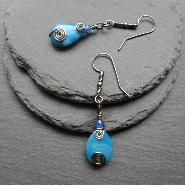 Blue Agate Dangle Earrings Gunmetal Tone