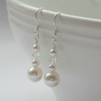 Pearl Earrings With Crystals and Pearls From Swarovski Sterling Silver