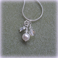 Charm Necklace with swarovskit Pearl and Crystals