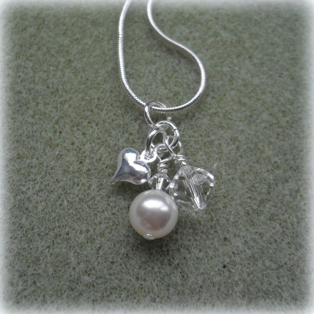 Charm Necklace with swarovskit Pearl and Crystals Silver Plate