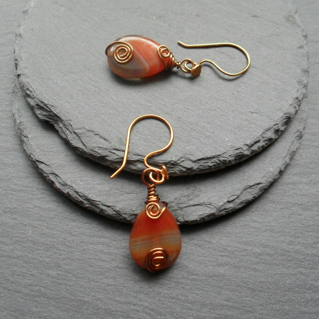 Botswana Agate Drop Earrings Bronze Tone