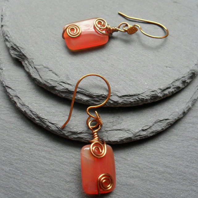 Orange Agate Wire Wrapped Earrings Bronze Tone