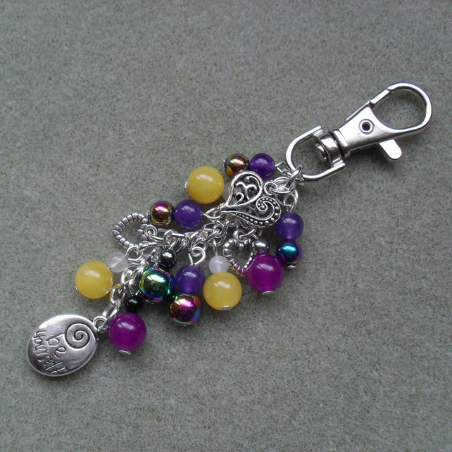 Be Yourself Bag Charm Silver Tone