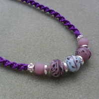 Purple Macrame Knotted Necklace With Glass Beads
