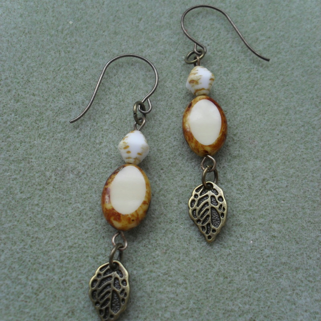 Vintaj Brass and Czech Glass Beaded Earrings
