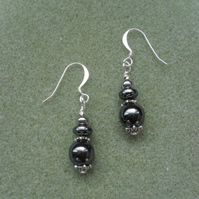 Haematite Silver Plated Earrings