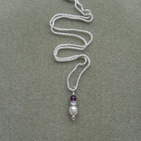 Necklace African Amethyst Freshwater Pearl Sterling Silver February Birthstone