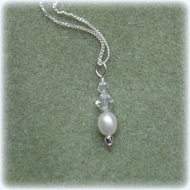 Sterling Silver Freshwater cultured Pearl and Crystals From Swarovski Necklace