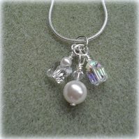 Charm Necklace With Crystals and Pearls From Swarovski Silver Plate
