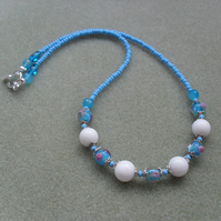Blue and White Glass Beads and Gemstone Neclklace
