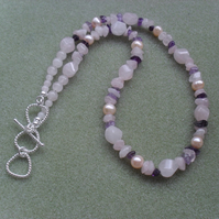 Rose Quartz, Amethyst and Freshwater Cultured Pearl Necklace