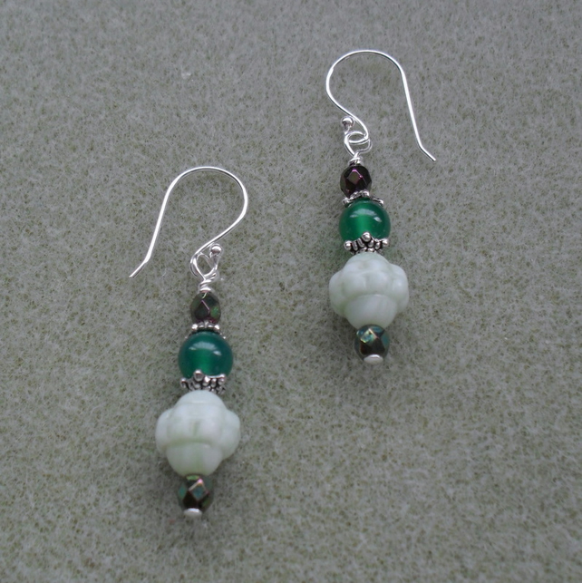 Green Czech Glass and Agate Silver Plated Earrings