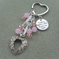 Pink Crystal and Gemstone Angel Keyring