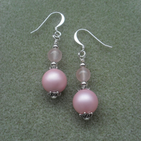 Pink Shell Pearl and Rose Quartz Dangle Earrings