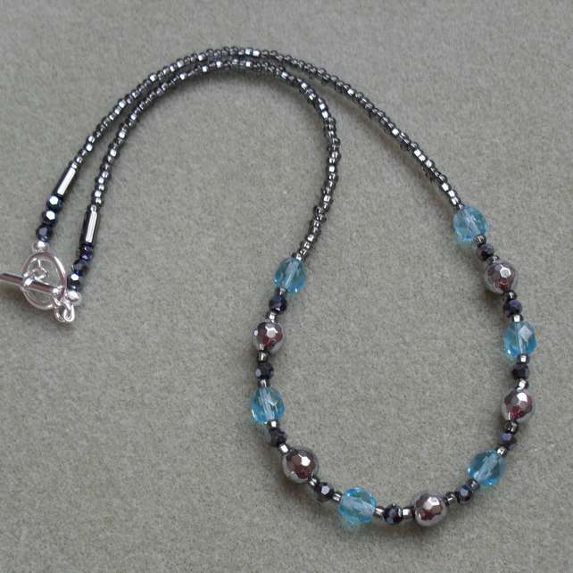 Haematite and Czech Glass Beaded Necklace