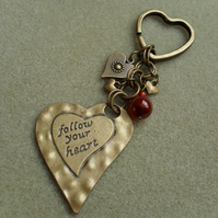 Follow Your Heart Keyring Bronze Tone Vintage