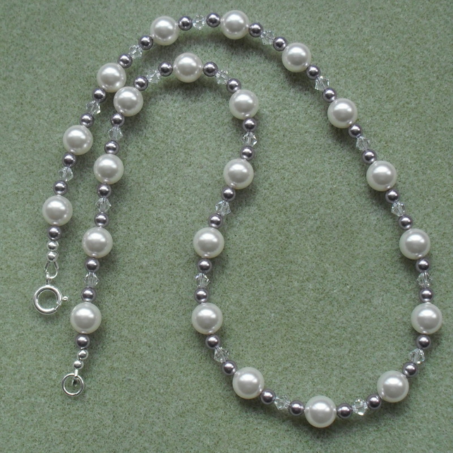 Pearl Necklace Sterling Silver With Crystals and Pearls From Swarovski
