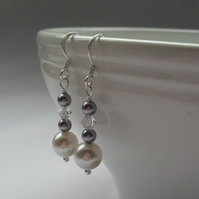 Sterling Silver Pearl Earrings With Swarovski Crystals and Pearls