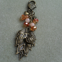 Leaf with Ladybird Charm Crystals and Aventurine Bag Charm