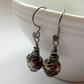 Gunmetal Earrings With Agate Semi Precious Gemstone Drop