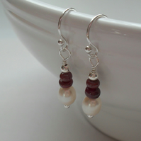 Pearl Earrings With Ruby Gemstones Sterling Silver