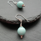 Aqua Quartzite Semi Precious Gemstone Earrings Silver Plate