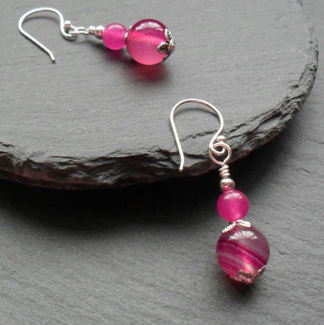 Dangle Earrings With Deep Pink Agate Silver Plate