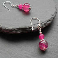 SALE Dangle Earrings With Deep Pink Agate Silver Plate