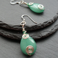 Green Quartzite Drop Earrings Wire Wrapped