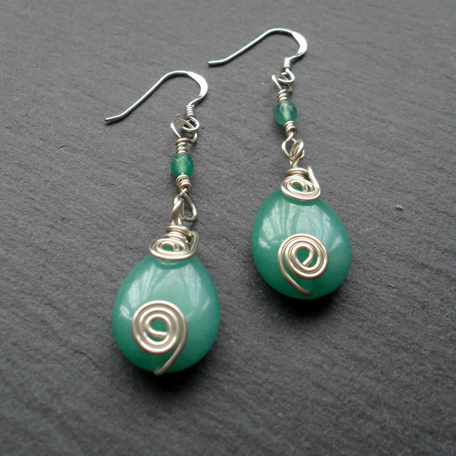 Dangle Earrings With Green Quartzite and Agate Semi Precious Gemstones