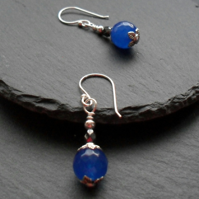Deep Blue Quartz Drop Earrings Silver Plate