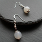 Agate Milky White Colour Drop Earrings Silver Plate