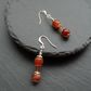 Orange Agate Drop Earrings Silver Plate