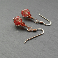 Red Venetian Murano Glass Rose Gold Vermeil Earrings Valentines Gift