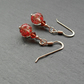 Red Venetian Murano Glass Rose Gold Vermeil Earrings
