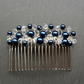 Hair Comb With Navy Blue Glass Pearls and Crystals