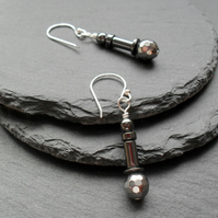 Gun Metal and Silver Haematite Earrings Silver Plate