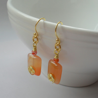 Agate Gold Plated Earrings Light Orange