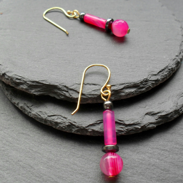 Fuchsia Agate and Haematite Drop Earrings Gold Plate