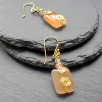 Orange Agate With Crystals From Swarovski Gold Plated Earrings