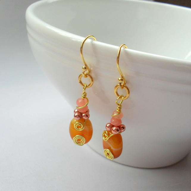 Agate and Quartzite Drop Gold Plated Earrings