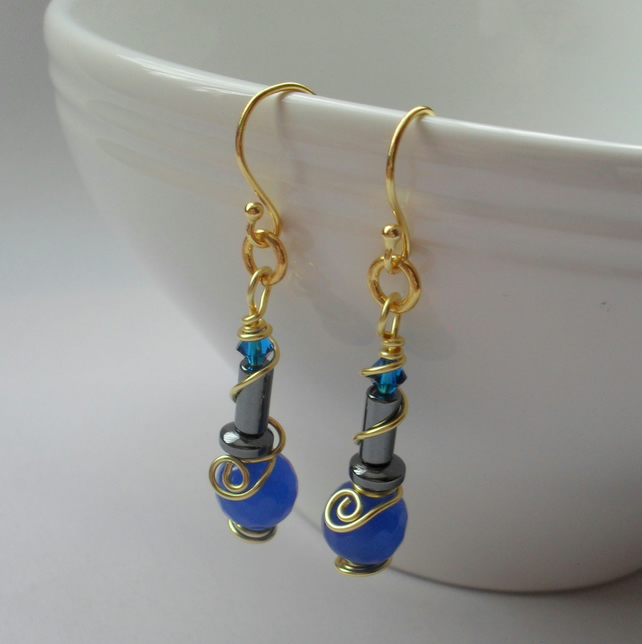 Blue Quartz and Haematite Drop Earrings Gold Plate
