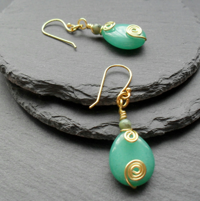 Green Quartzite and African Turquoise Drop Gold Plated Earrings