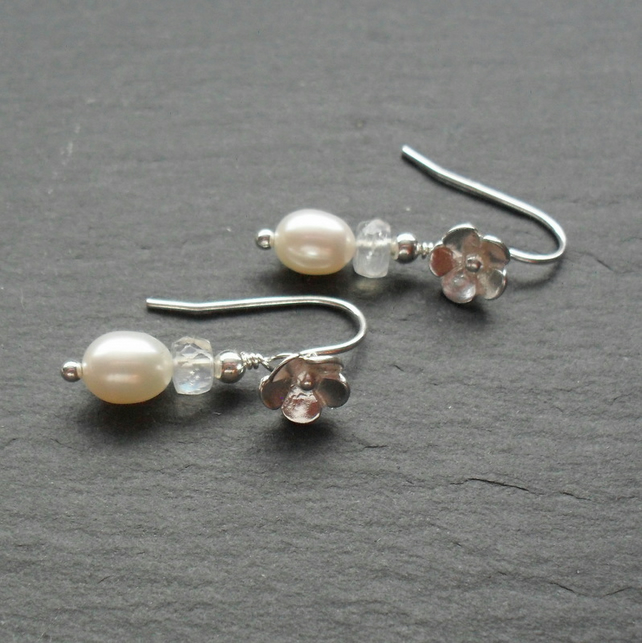 Sterling Silver Flower Earrings With Pearls and Moonstone