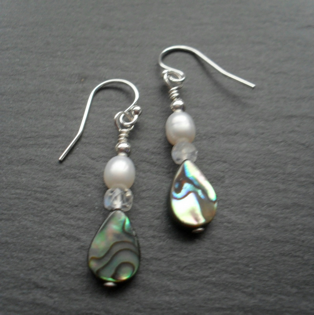 Abalone Moonstone and Freshwater Pearl Sterling Silver Drop Earrings