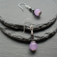Haematite and Lilac Quartzite Drop Earrings Silver Plate